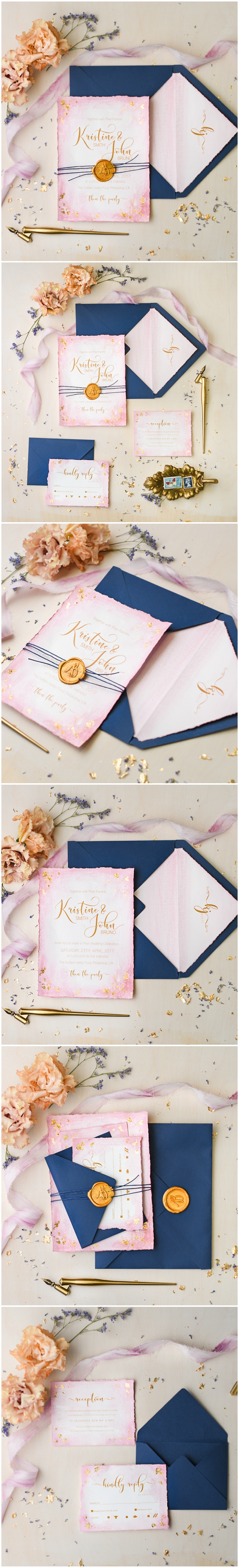 Pink Navy Gold Hand Painted Wedding Invitations handmade pink