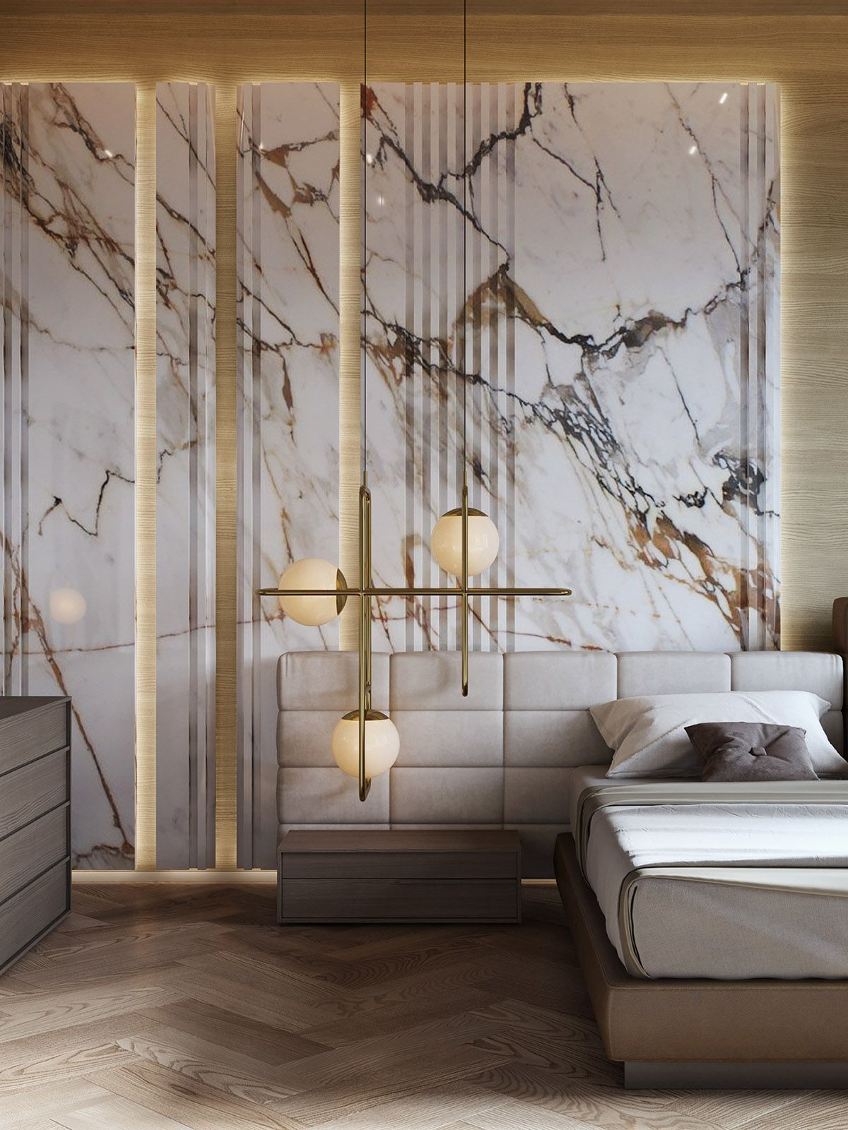 Interior Design Using Marble And Wood Combinations Luxurious