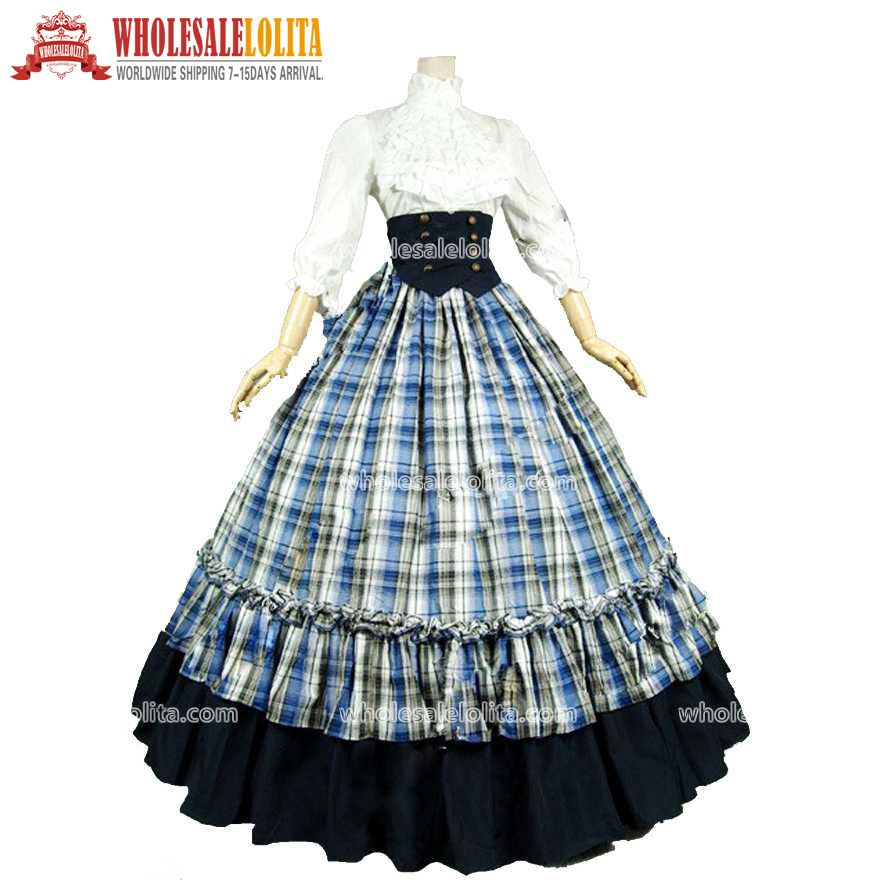 Click to Buy << Victorian Gothic Dress Grid Ball Gown Vintage Gothic ...