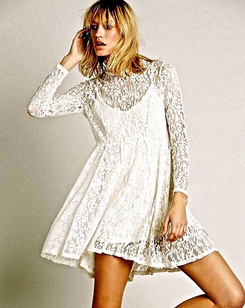 Nwot 128 Free People Ivory Lace Dress Fit Flare Long Sleeve Mock Turtle Neck M Lace White Dress Flare Long Sleeve Dresses [ 1000 x 796 Pixel ]