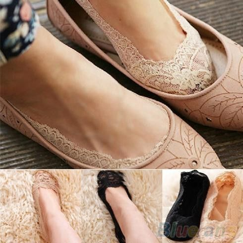 Fashion Women's Cotton Lace Antiskid Invisible Liner Low Cut Socks 1OWN