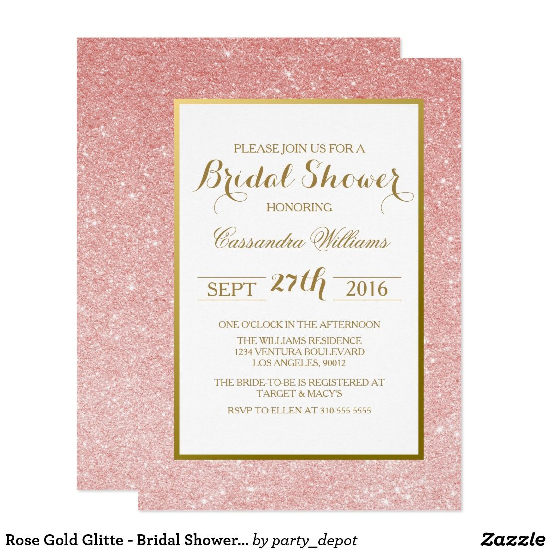 Rose Gold Glitte - Bridal Shower Invitation | Bridal showers, Shower ...