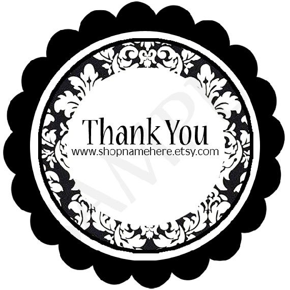 Black Damask Fancy - Thank You Round Label Template via Etsy | Party ...