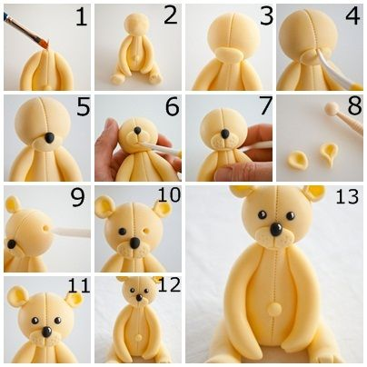 Comment faire un ours en fondant / How to do a fondant teddy bear
