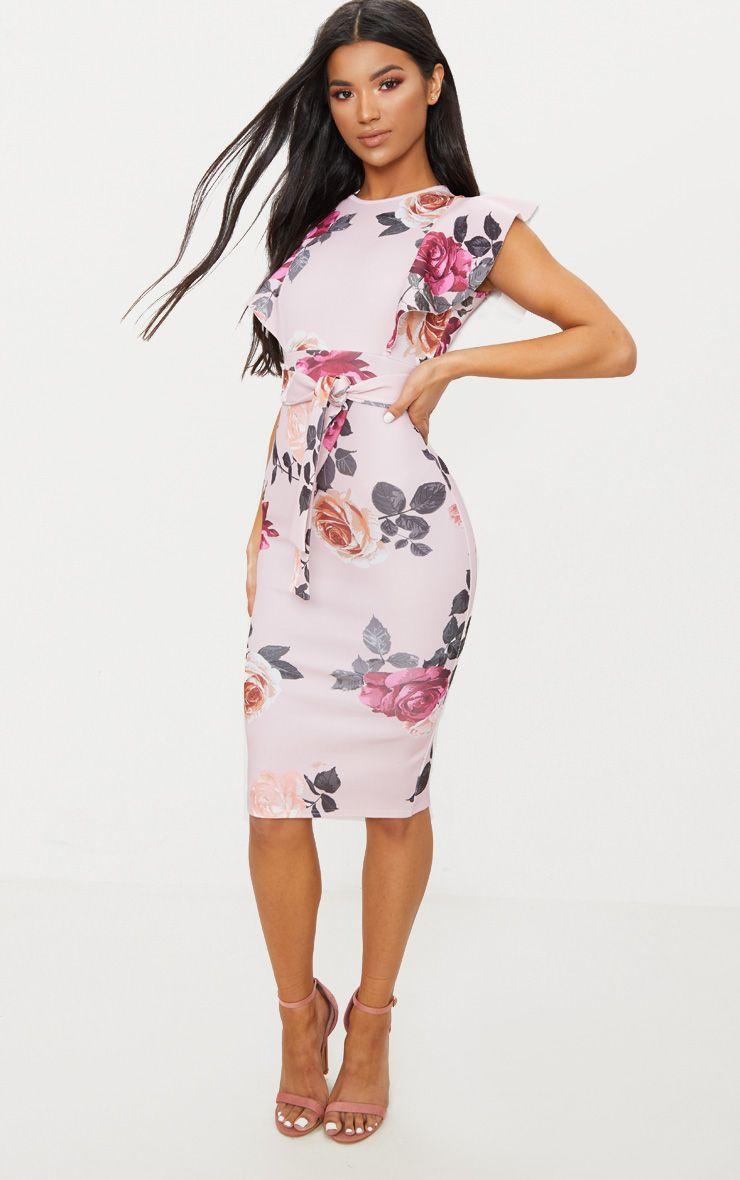 Dusty Pink Floral Print Frill Detail Midi Dress Cocktail Dress Lace White Lace Cocktail Dress Dresses [ 1180 x 740 Pixel ]