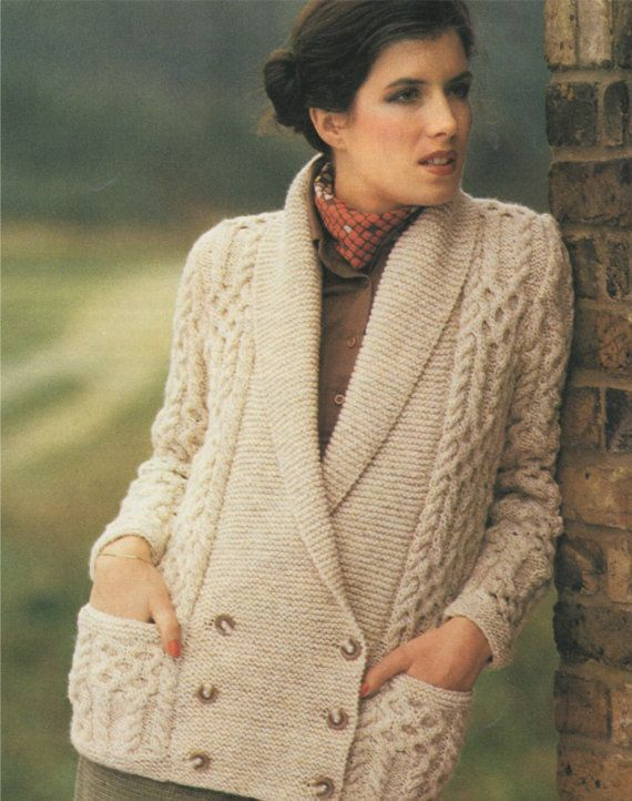 Womens Aran Jacket PDF Knitting Pattern : Ladies 32, 34, 36, 38 and ...