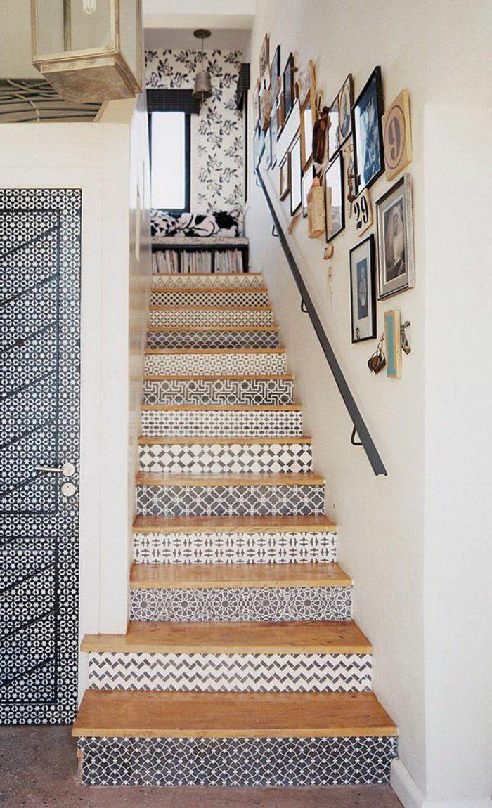 Einrichtungsideen Treppenhaus Wandtapeten Muster Tapete