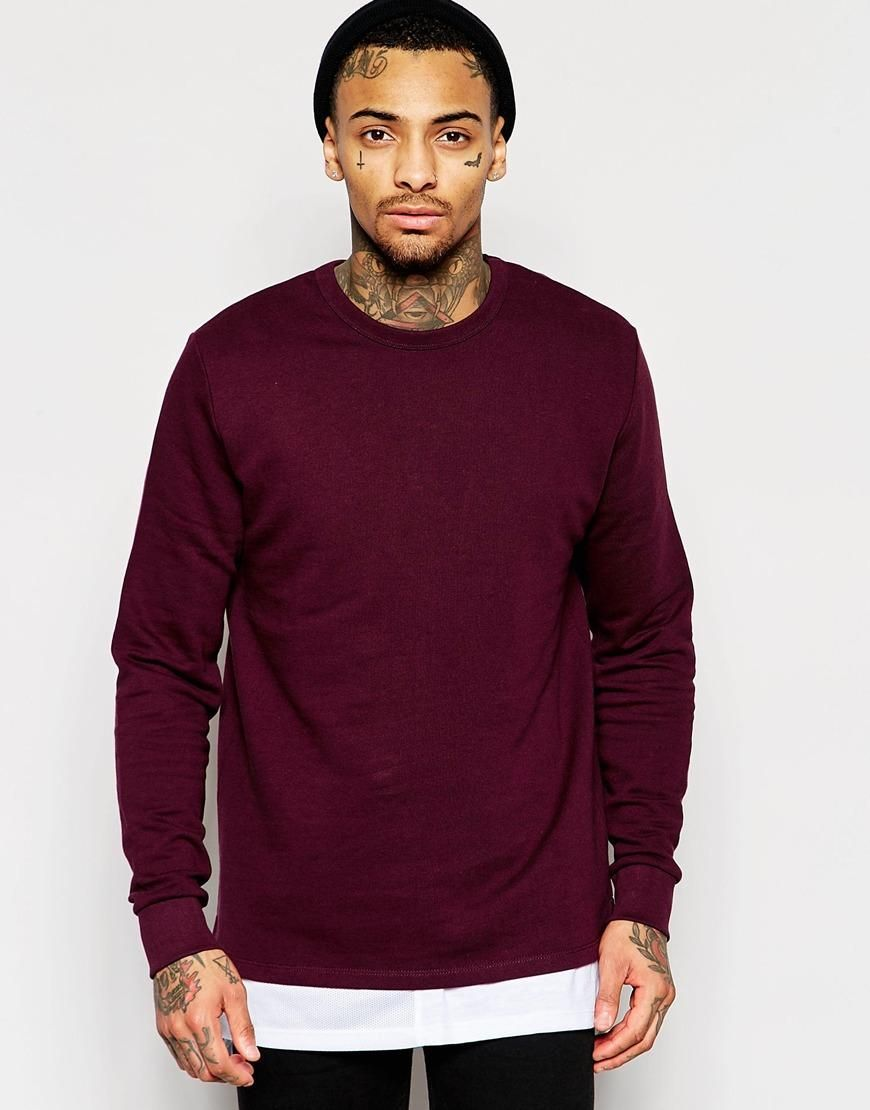 ASOS | ASOS Sweatshirt With Fixed Hem In Burgundy at ASOS