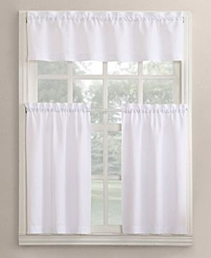 Lichtenberg No 918 Martine 3 Pc Microfiber Rod Pocket Kitchen Curtain Set