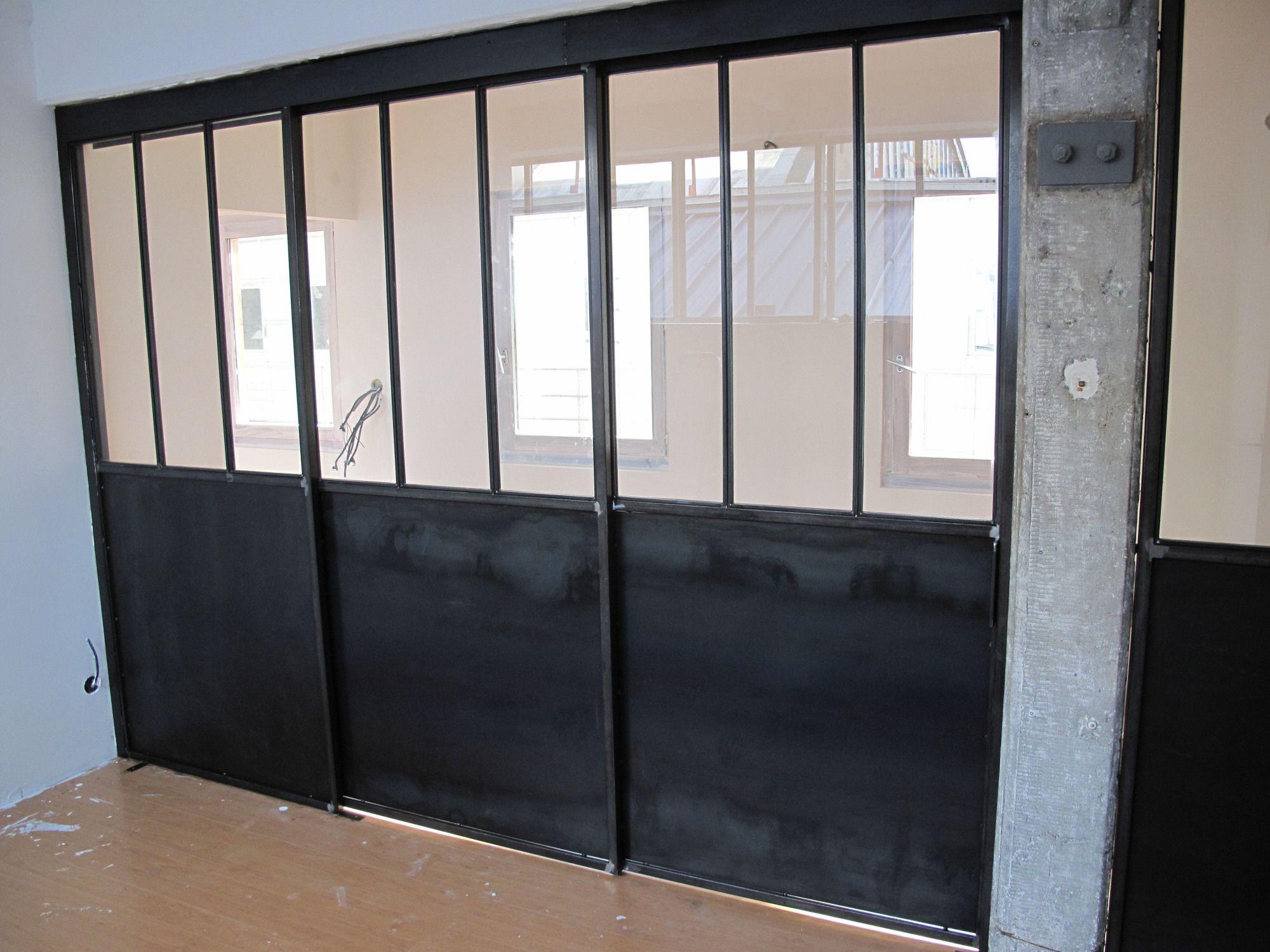 Separation Vitree Avec Porte Coulissante Porte Coulissante Cloison Vitree Separation Cuisine Salon