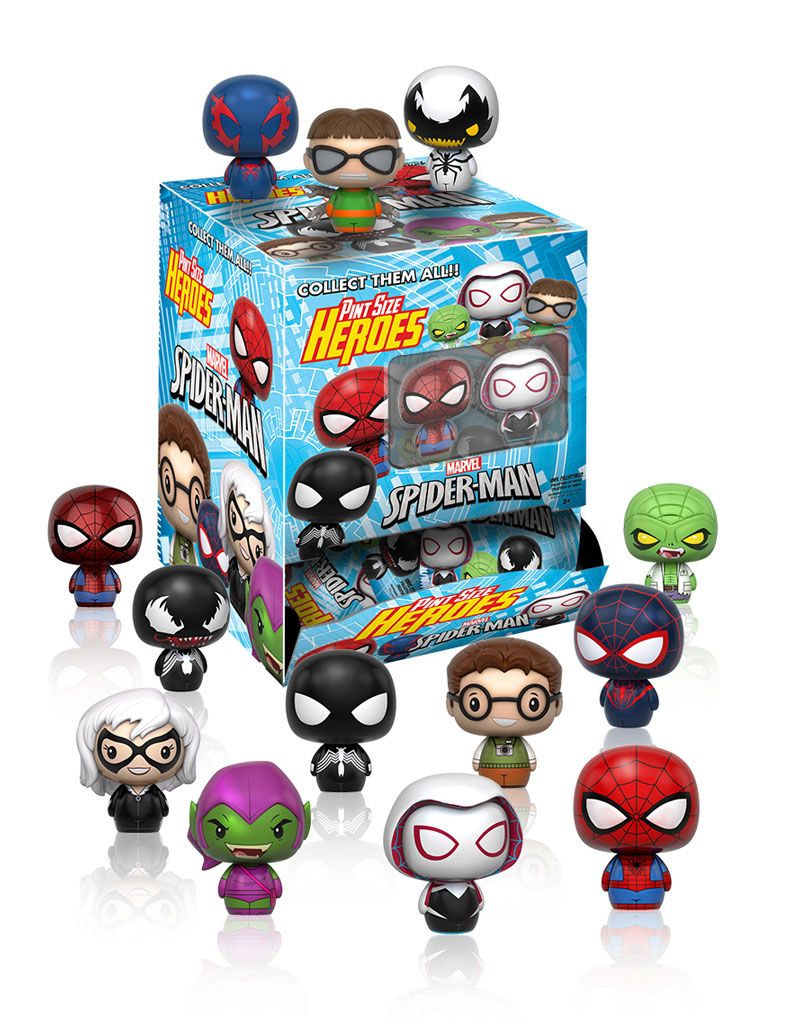 26b03557ede Pint Size Heroes: Marvel Comics blind bag figures by Funko, Spiderman,  Venom, Green Goblin, Black Cat, Doctor Octopus, Spider Gwen, Peter Parker  and more