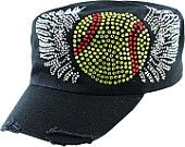 Softball With Wings Cap