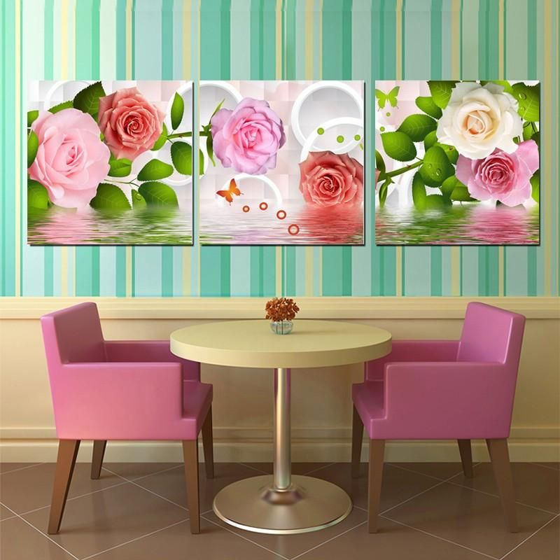 3D Rose Flower Canvas Prints Painting Wall Art Pictures With Stretched Frame