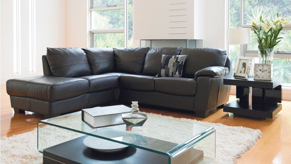Coco Leather Corner Lounge with Chaise - Lounges - Living ...
