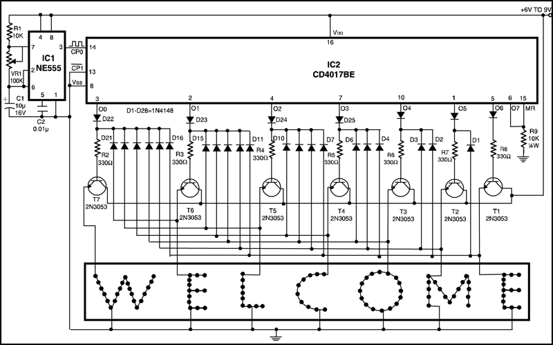 led running display board circuit diagram