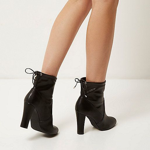Black tie back heeled ankle boots - ankle boots - shoes / boots - women