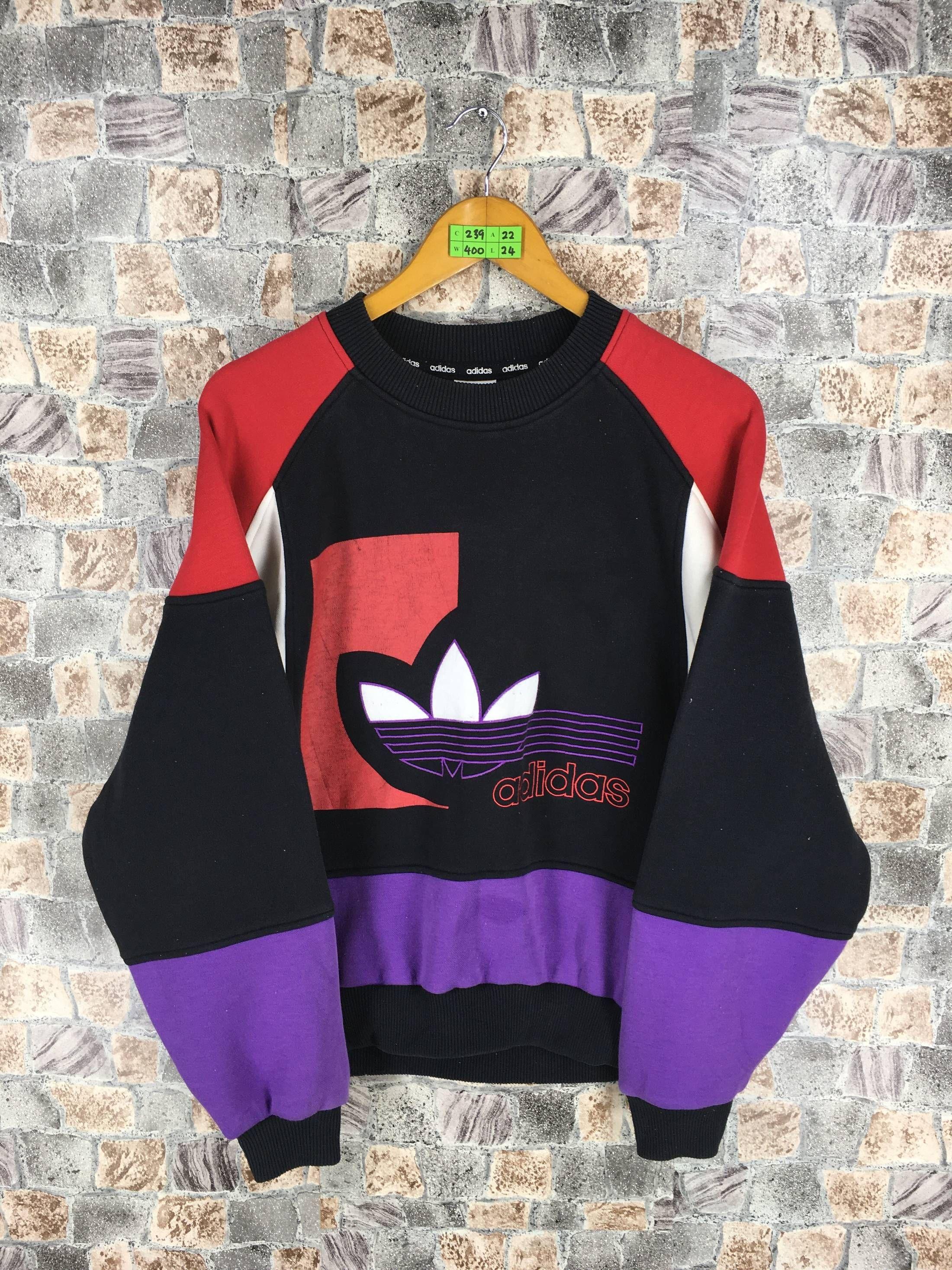 Adidas Adidas Run Dmc Sweatshirt Medium Vintage 80s Adidas Trefoil Big Logo Multicolour Jumper Hip Hop Adidas Three S Hoodie Fashion Retro Outfits Cool Outfits [ 2933 x 2200 Pixel ]