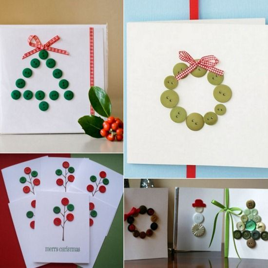 Postales de Navidad fáciles Postales de navidad, Botones y Navidad