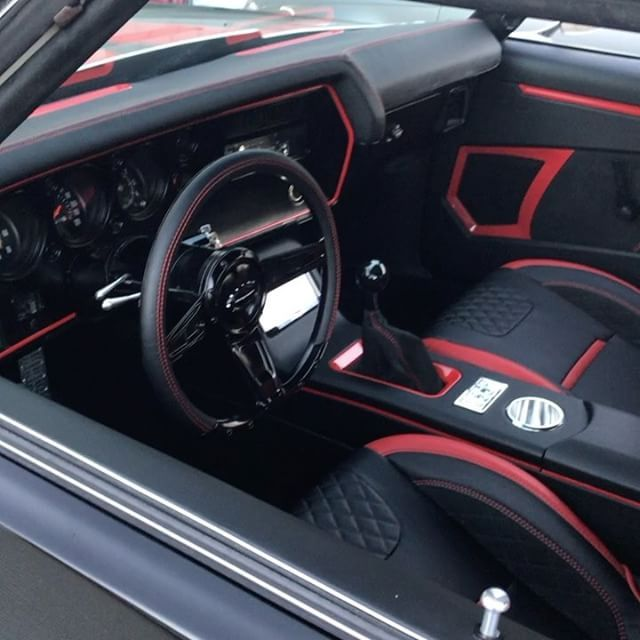 Video Clip Of Djdesign Chevelle Red And Black Interior Diamond Stitch Custom Dash Rear Deck Console Seats Door Panels Custom Car Interior Chevelle Custom Cars
