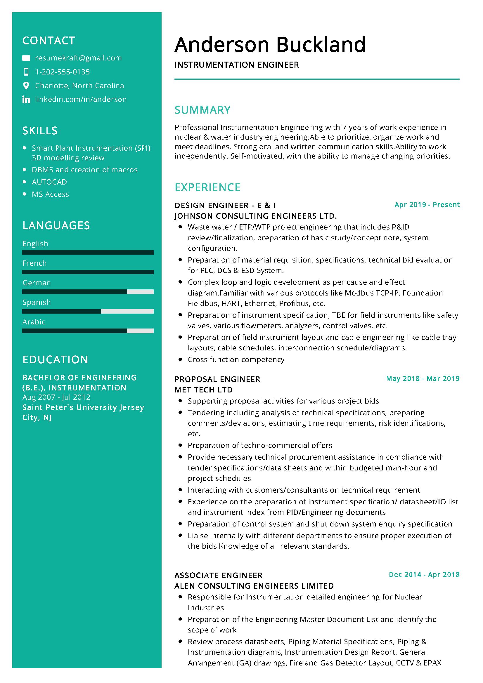 Instrumentation design engineer resume sample business plan presentation ppt