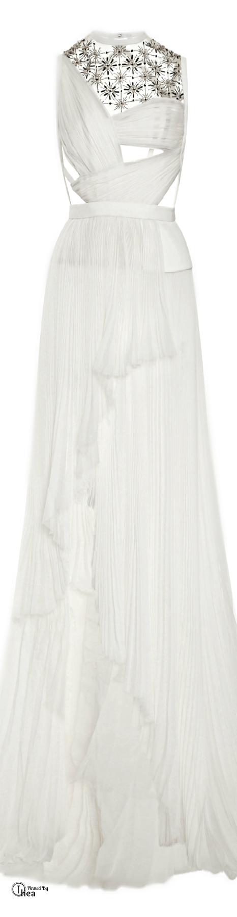 J mendel fw sleeveless gown with embroidered tulle insert