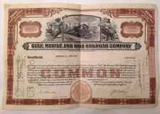 Vintage Common Stock Certificate Gulf Mobile And Ohio Railroad Company 1940