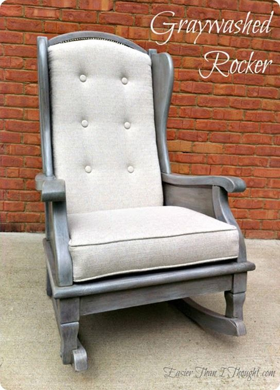 Reupholstered Rocker With Gray Wash Finish This Would Be A Perfect Chair In The Nursery
