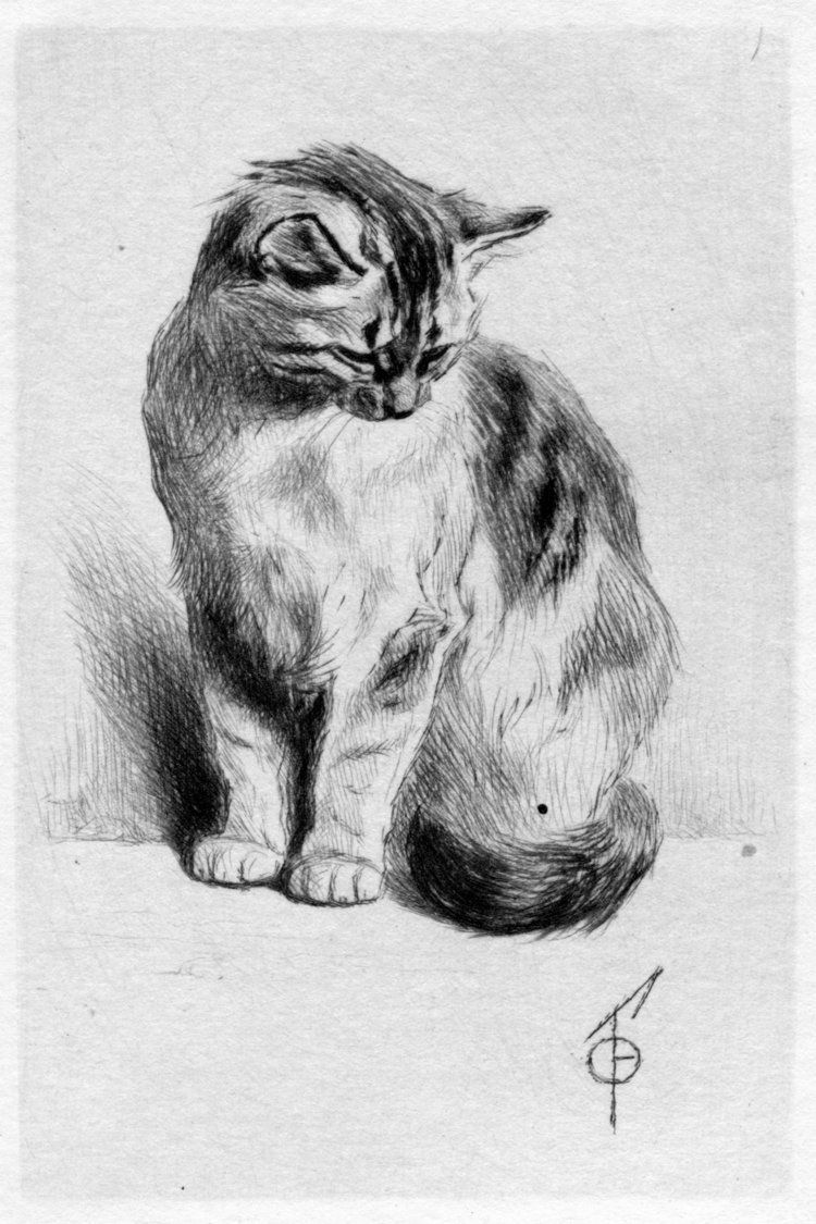 Petit chat assis by ferdinand henri oger cats imagined - Dessin chat assis ...