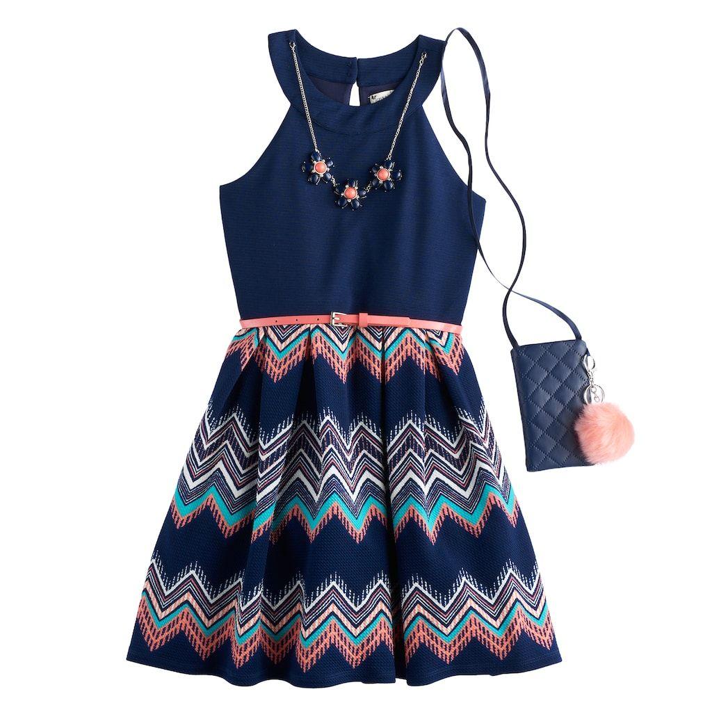 b4d3b1aeb Girls 7-16 & Plus Size Knitworks Chevron Skirt Skater Dress with Necklace &  Crossbody Purse, Blue (Navy)