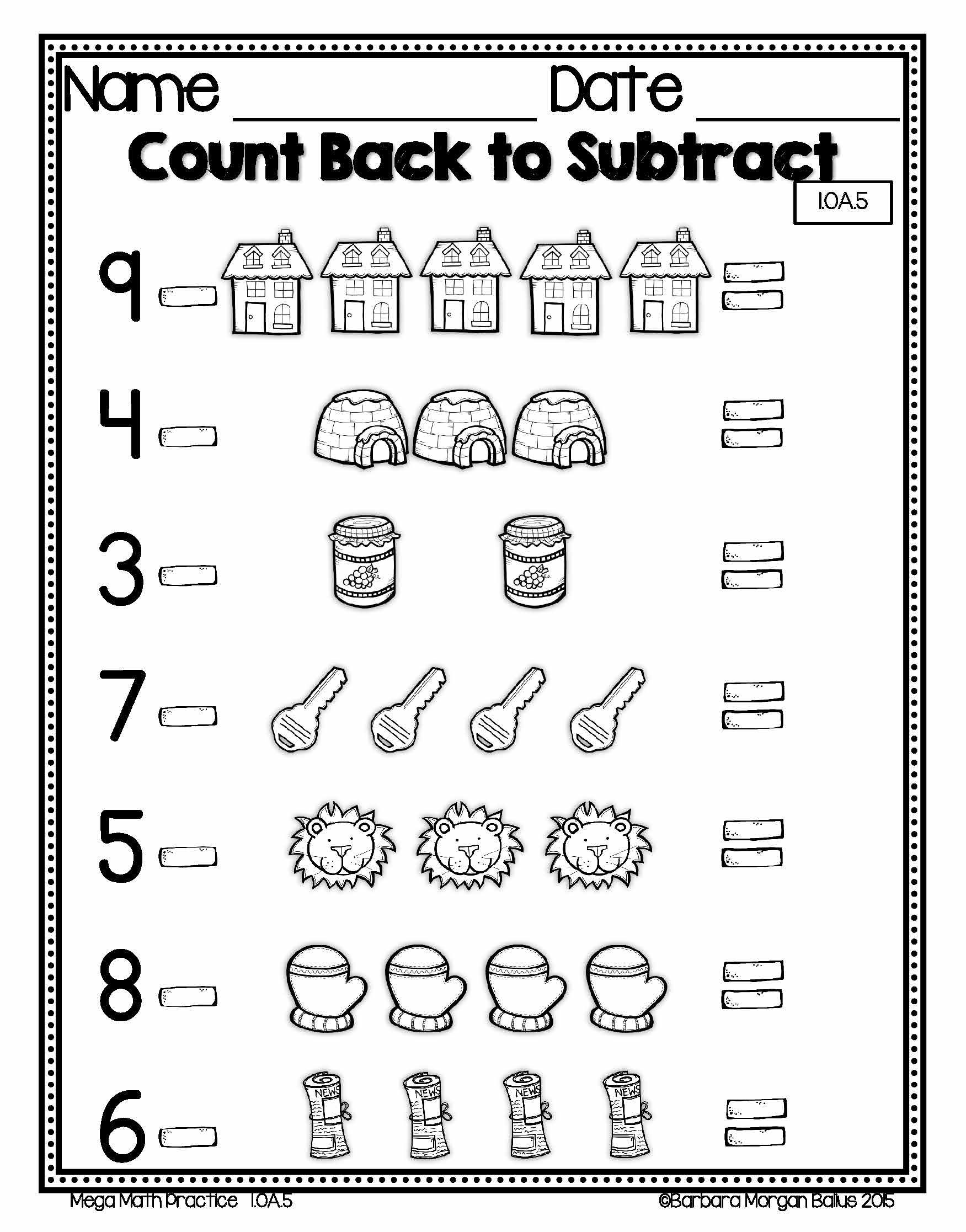 hight resolution of First Grade Number sense math practice. Counting back 1.OA.5   Mega math