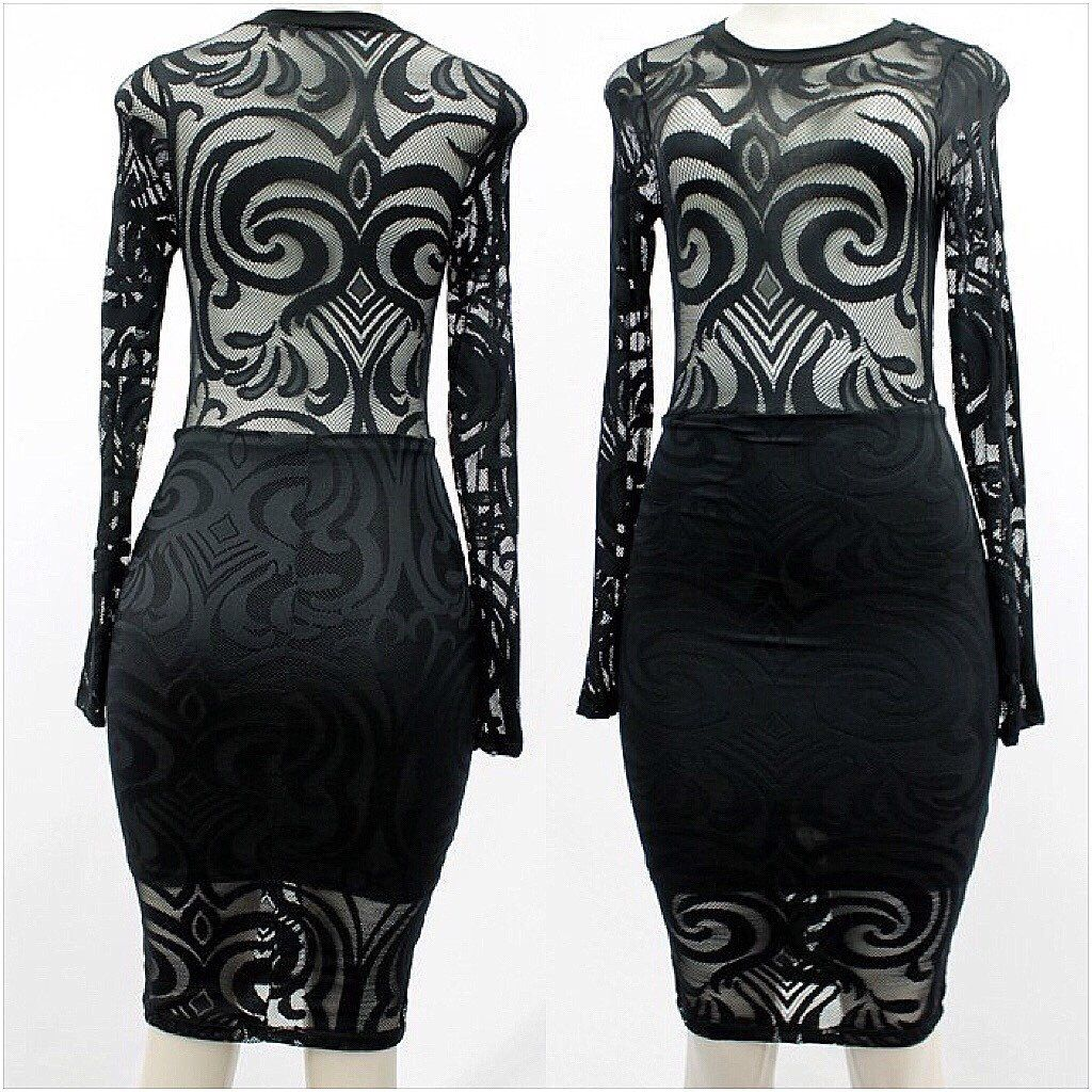 Long sleeve bodycon sheer tribal mesh dress products