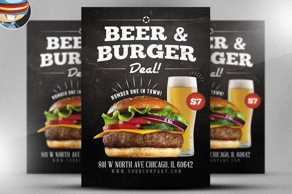 Beer And Burger Offer Flyer Template By Graphicsauthor Templates