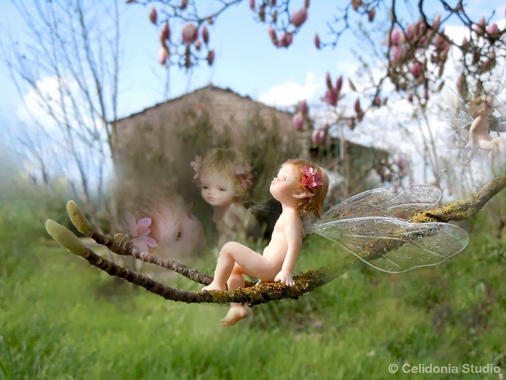:: Crafty :: Clay :: Art Doll :: Fairy on Magnolia Branch