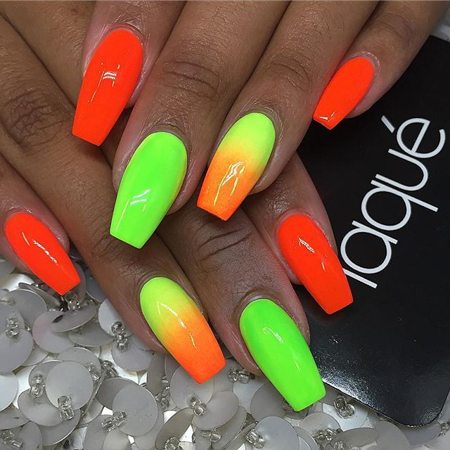 Bright Neon Summer Nail Art