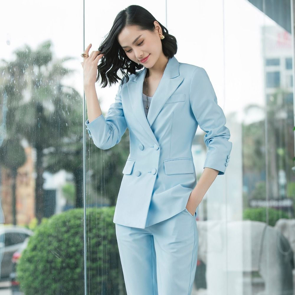 2019 New Office Work Blazer Suits Of High Quality Ol Women Pants Suit Blazers Jackets With Trouser Two Pieces Set Red Pink Blue Back To Search Resultswomen's Clothing Suits & Sets