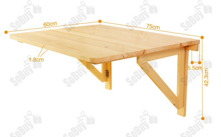 Tavolo da muro pieghevole in legno 75 60cm con due supporti so fwt05 it ebay lavori legno - Tavolo da muro pieghevole ...