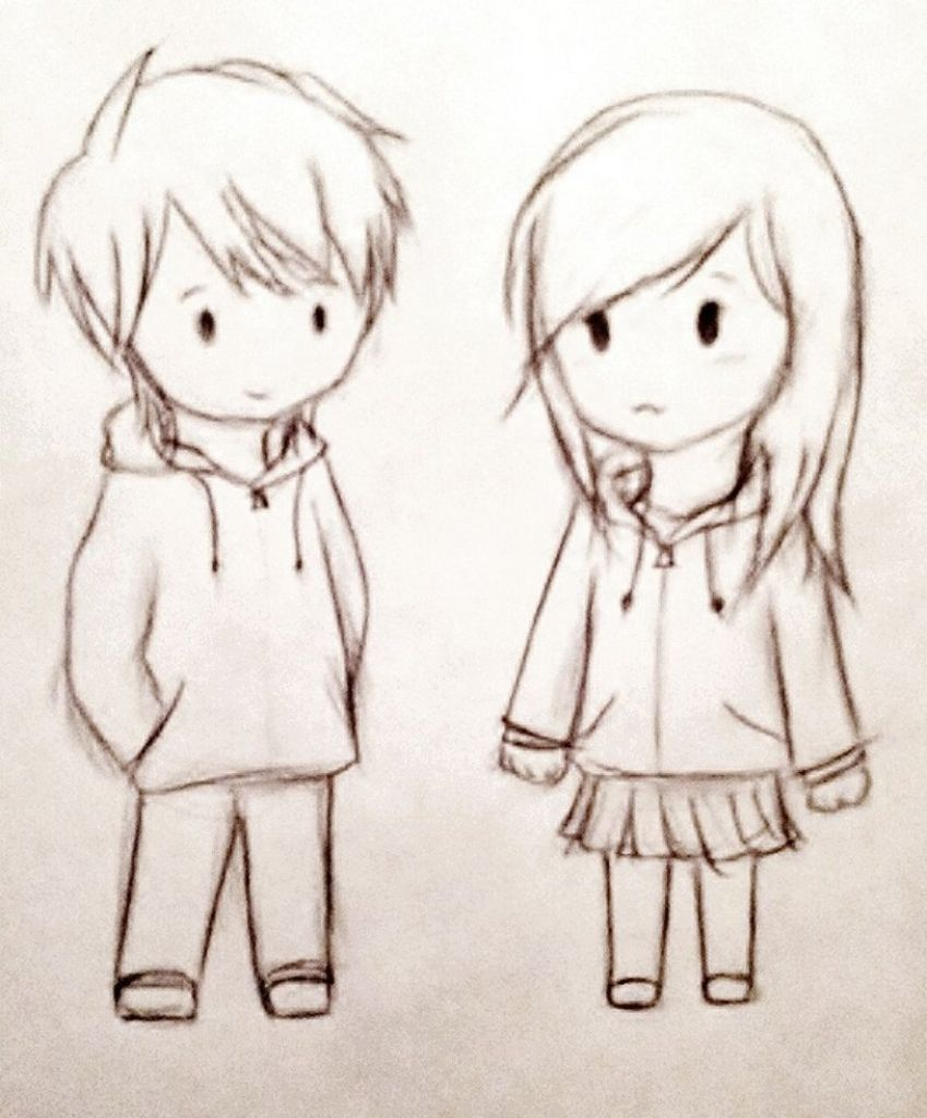Cute Couple Anime Chibi Drawing