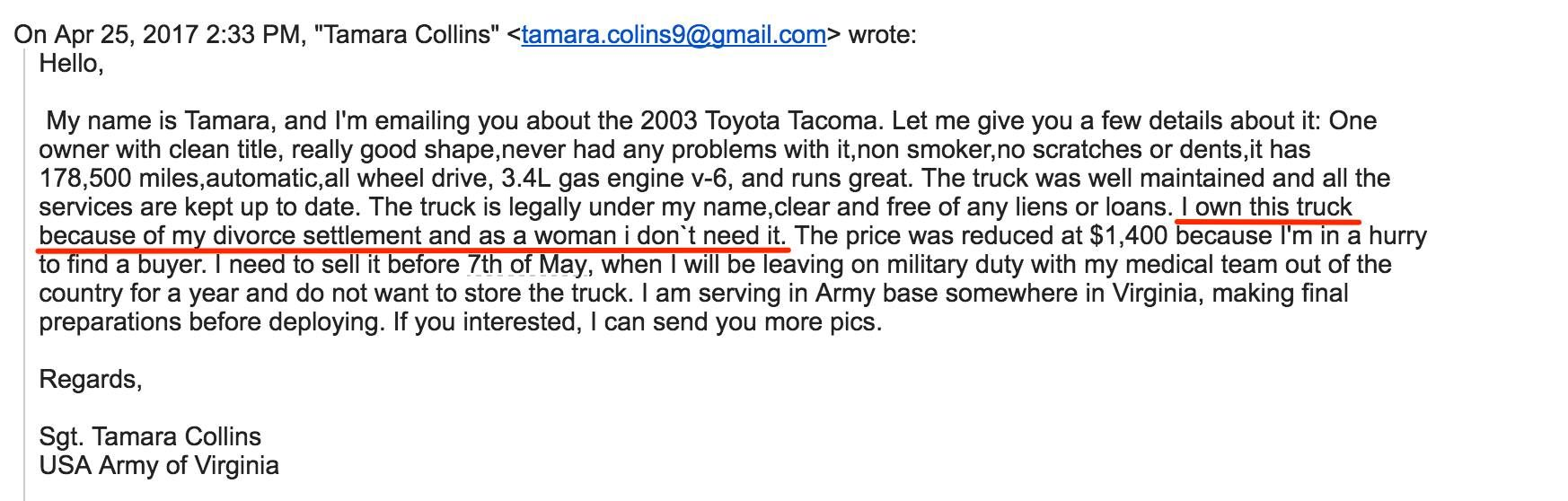Scammer trying to sell a car to my friend thinks chauvinism will ...