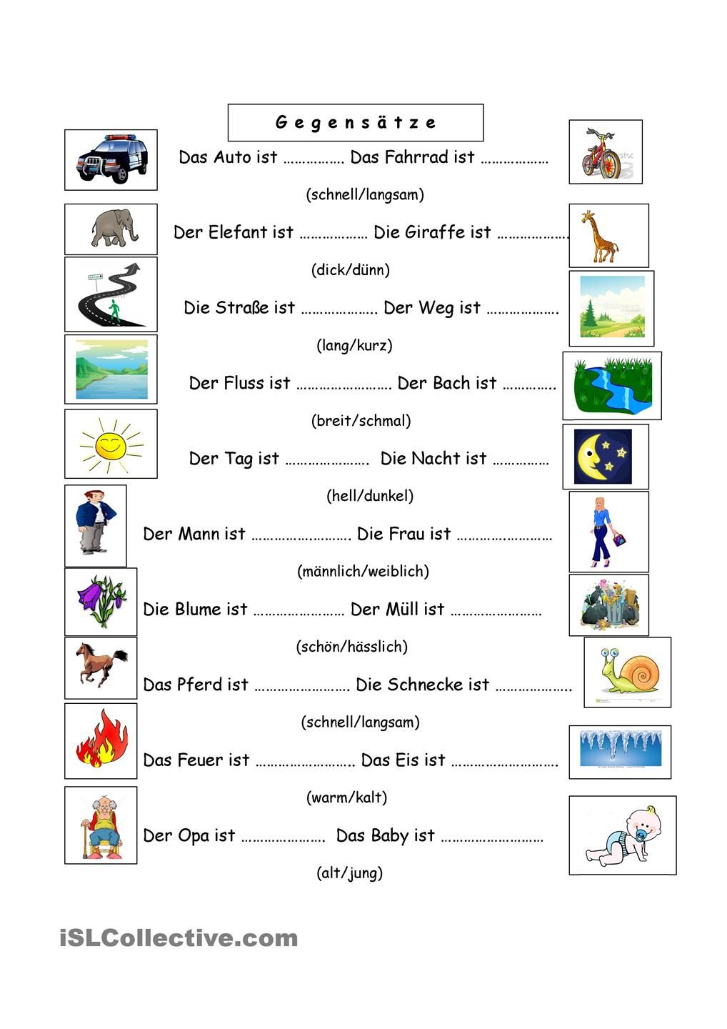 Gegensätze | alpha | Pinterest | Worksheets and Knowledge