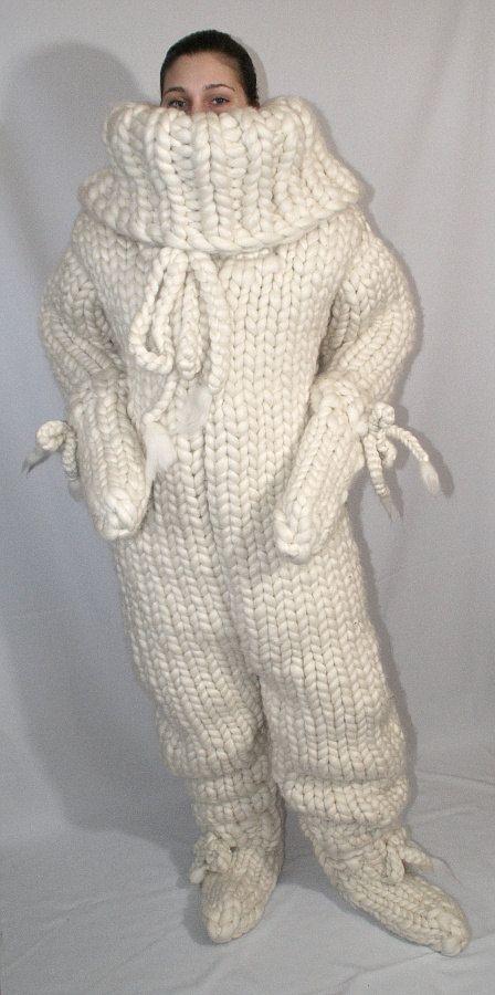 MONSTER grobstrick Schafswolle Catsuit mit großem Rollkragen ...