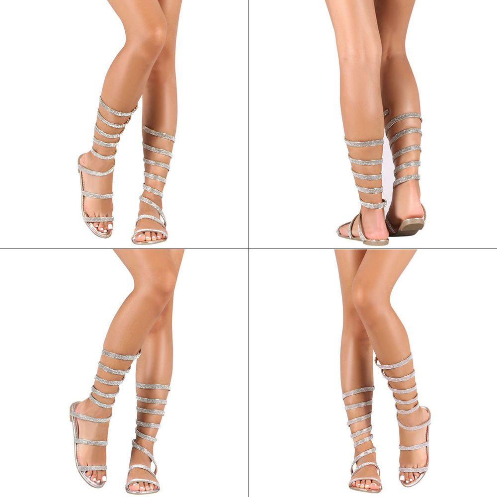 df0cb4f02bb0f Open Toe Jeweled Rhinestone Coil Leg Wrap Ankle Strap Gladiator Flat Sandal  Shoe