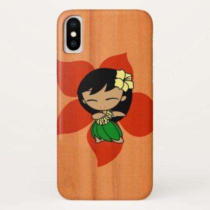Aloha Honeys Hawaiian Hula Girl Faux Wood iPhone X Case - girl gifts special unique diy gift idea