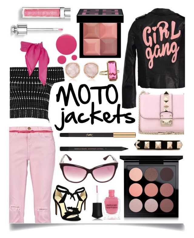 """After Dark: Moto Jackets"" by ittie-kittie ❤ liked on Polyvore featuring Alexander McQueen, High Heels Suicide, Alexandre Birman, Current/Elliott, Valentino, Monica Vinader, Yves Saint Laurent, American Vintage, Chrome Hearts and Givenchy"