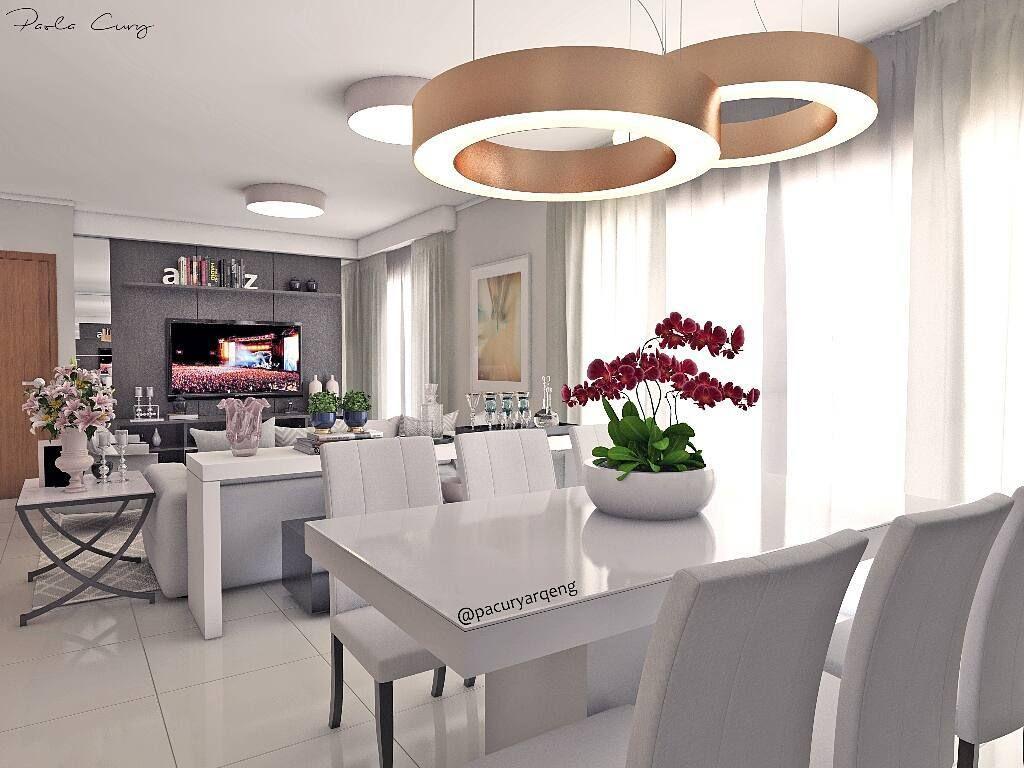 Sala De Estar Clean Com Detalhes Imponentes Mistura De Mobili Rio  -> Lustre Para Sala De Tv