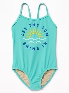 e469d679ba452 Graphic Cross-Strap Keyhole Swimsuit for Girls | swim kids ...