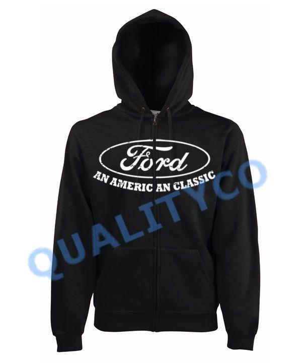 Ford American Classic Black Zipper Hoodie Sweatshirt Sweater Shelby Mustang