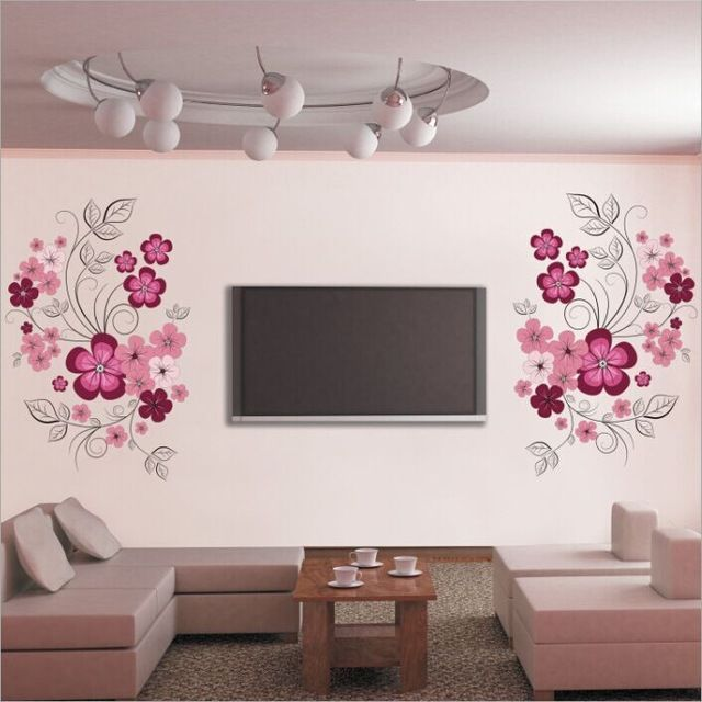 Free Shipping Removable Vinyl Wall Stickers Flowers Living Room Tv Sofa Background Home Decoration Wall Stickers Living Room Wall Decor Stickers Diy Wall Decor #stickers #for #living #room