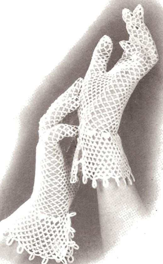 Vintage Crochet PATTERN to make Fishnet Lace Mesh Gloves Cuffed ...