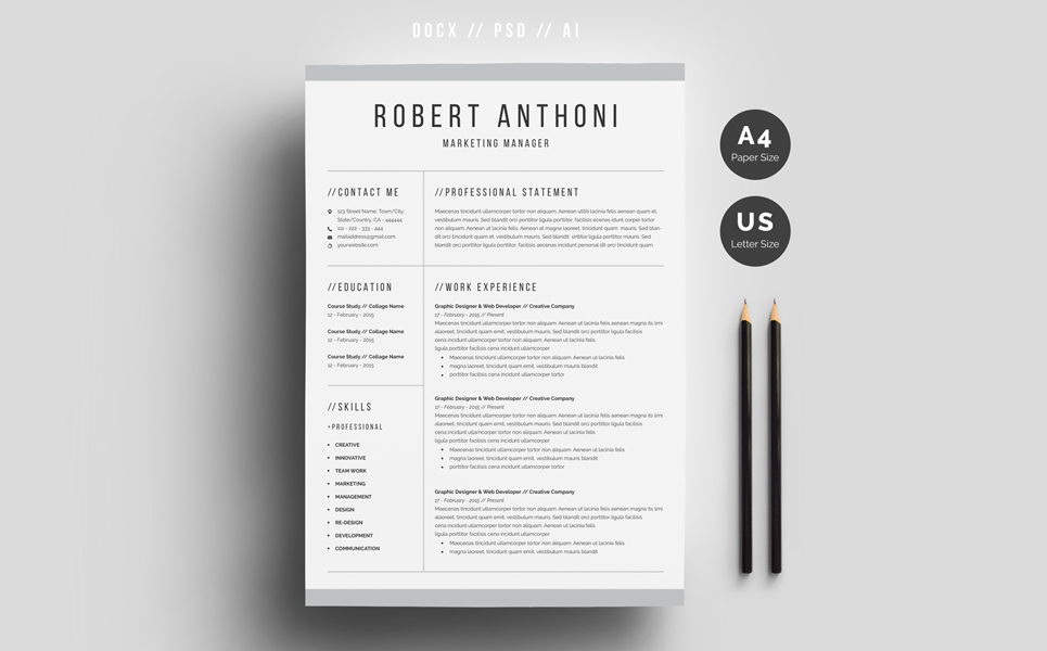 Robert Anthoni Clean Resume Template 69612 Clean Resume Template Resume Design Template Cv Design Template