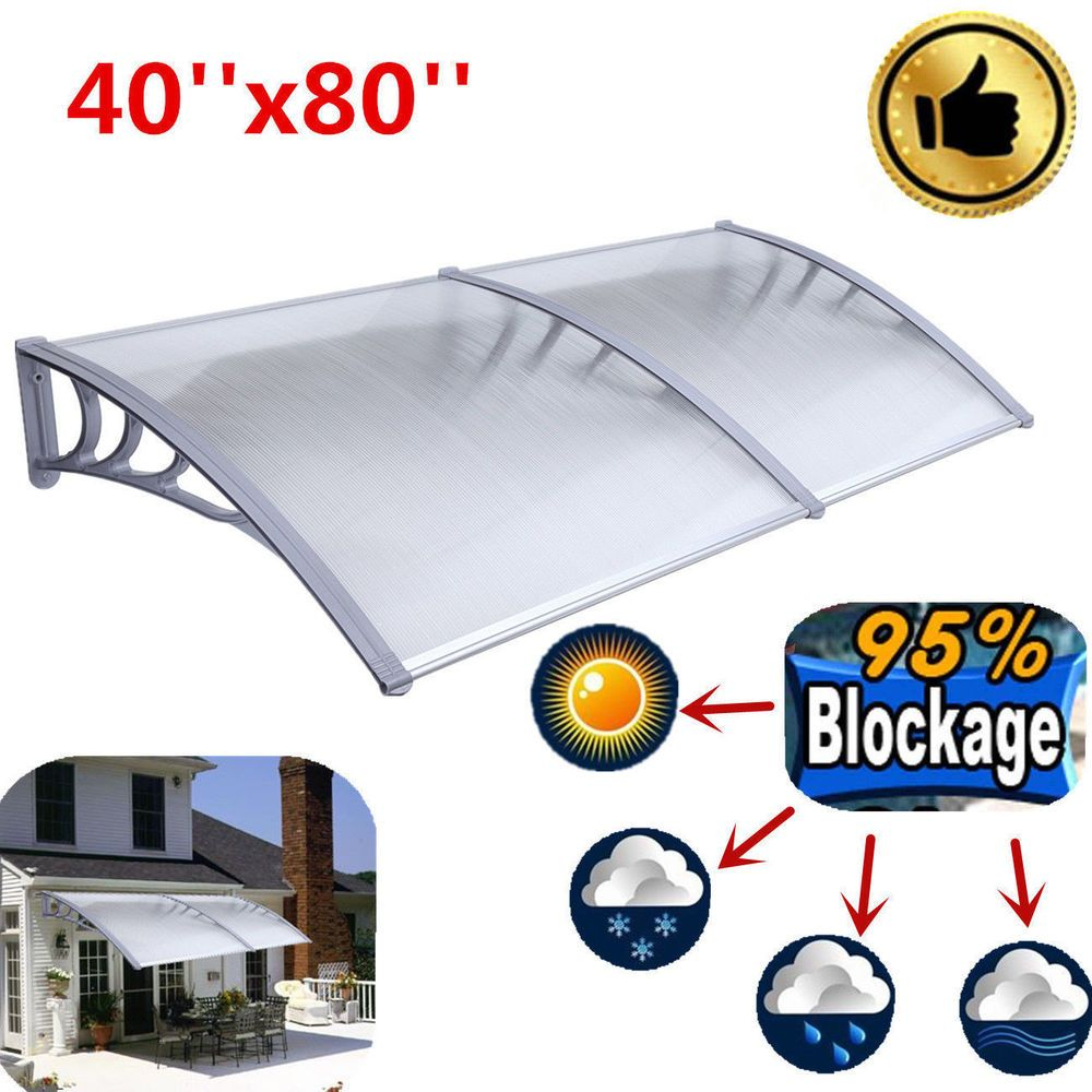 Diy 40 X 80 Outdoor Polycarbonate Front Door Window Awning Patio Cover Canopy Sun Shade Canopy Front Doors With Windows Shade Canopy